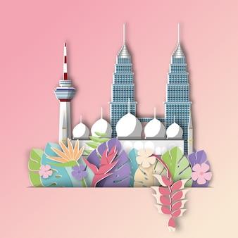 La malaisie avec la bannière d'été de feuille tropicale.