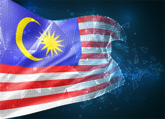 Malaisie, drapeau vectoriel, objet 3d abstrait virtuel à partir de polygones triangulaires sur fond bleu