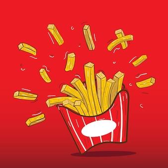 La malbouffe de restauration rapide de pommes de terre frites en illustration vectorielle de boîte d'emballage en carton rouge