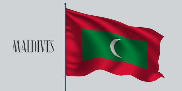Maldives, agitant le drapeau sur l'illustration du mât