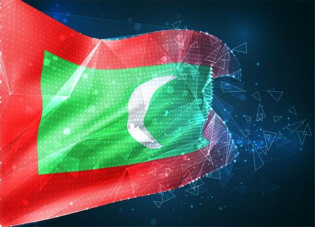Maldives, drapeau vectoriel, objet 3d abstrait virtuel à partir de polygones triangulaires sur fond bleu