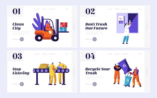 Male clean trash pour réduire la page de destination de l'ensemble de déchets.