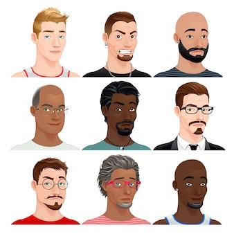 Mâle différent avatars vecteur personnages isolés