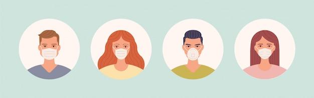Mâle et femelle dans un masque de protection du visage médical. avatars de personnes