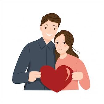 Mâle et femelle tenant une illustration de symbole d'amour coeur