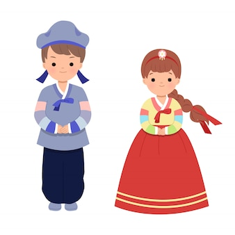 Mâle et femelle en vêtements traditionnels coréens pour la célébration de vacances de chuseok. grande fête des récoltes en corée du sud du nord. clipart ensemble isolé