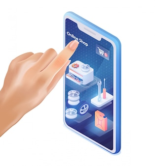 Male finger clics sur l'application mobile car shop