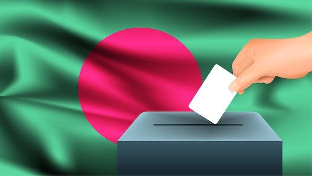 Mâle main jetant un bulletin de vote