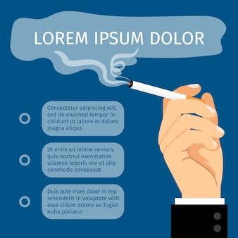 Mâle main tenant une caricature de cigarette