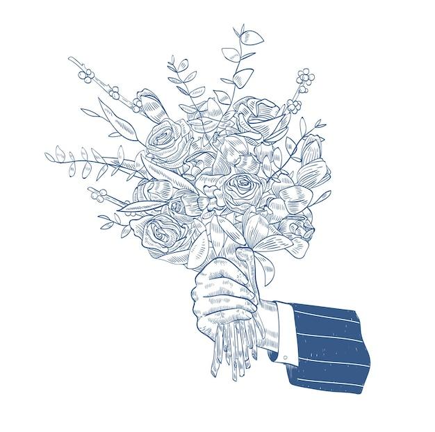 Mâle main tenant élégant bouquet