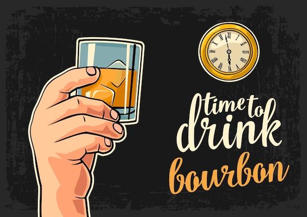 Mâle main tenant verre bourbon et montre de poche antique