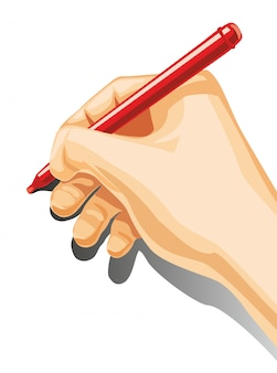 Mâle main tenir un crayon isolé sur fond blanc.