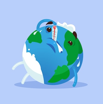 Malheureuse planète malade fatiguée