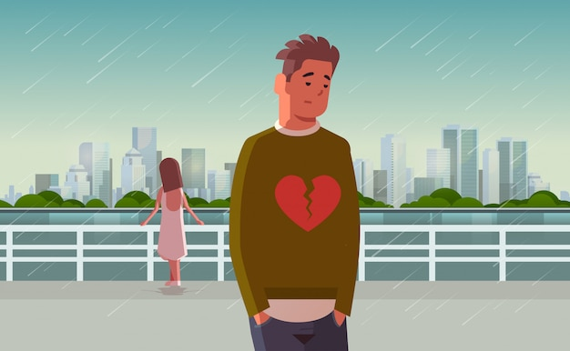 Malheureux couple triste avec coeur brisé dans la dépression ayant un problème de relation