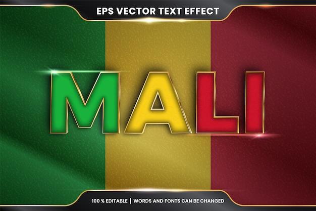 Mali avec son drapeau national, effet de texte modifiable avec style de couleur or