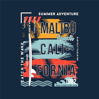 Malibu beach los angeles californie silhouette graphique typographie illustration vectorielle