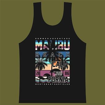 Malibu plage conception graphique surf typographie t-shirt vecteurs été aventure
