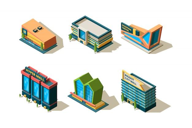 Mall isométrique. grands bâtiments modernes du centre commercial collection de magasins de ville architecturale différente
