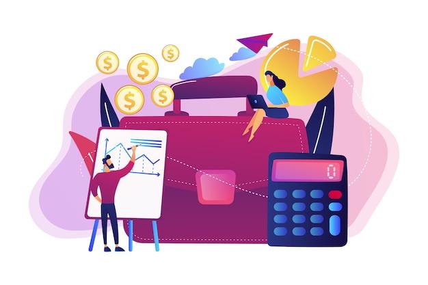 Mallette, calculatrice et comptables travaillant avec des graphiques et des illustrations d'ordinateur portable