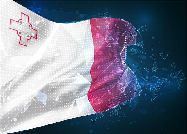 Malte, drapeau vectoriel, objet 3d abstrait virtuel à partir de polygones triangulaires sur fond bleu