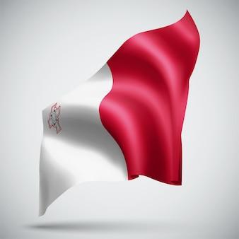 Malte, vecteur 3d flag isolé sur fond blanc