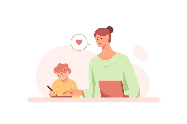 Maman aide sa fille à faire ses devoirs au design plat