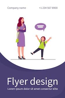 Maman aux mains jointes écoute enfant. enfant, bulle de dialogue, modèle de flyer plat de conversation