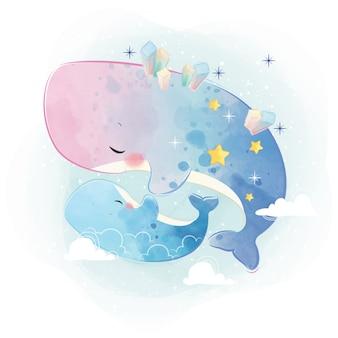 Maman et bébé baleine dans le thème galaxy