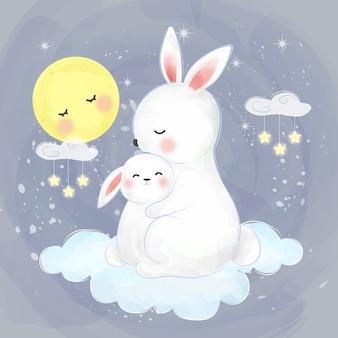 Maman et bébé lapin ensemble