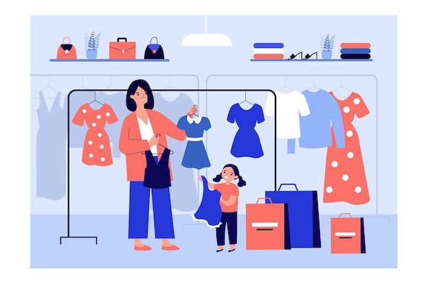 Maman, choisir des vêtements pour fille en illustration de magasin de mode