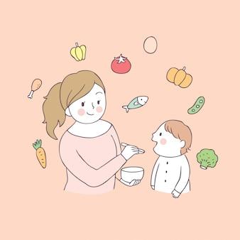 Maman dessin animé et bébé mangeant des aliments vecteur.