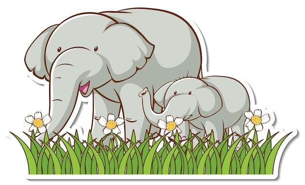 Maman éléphant et bébé debout dans l'autocollant de champ d'herbe