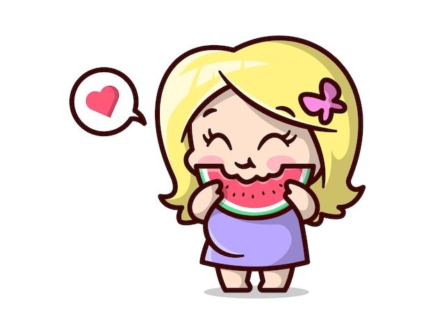 Une maman enceinte mignonne se sent si heureuse en mangeant du melon d'eau illustration de dessin animé de haute qualité