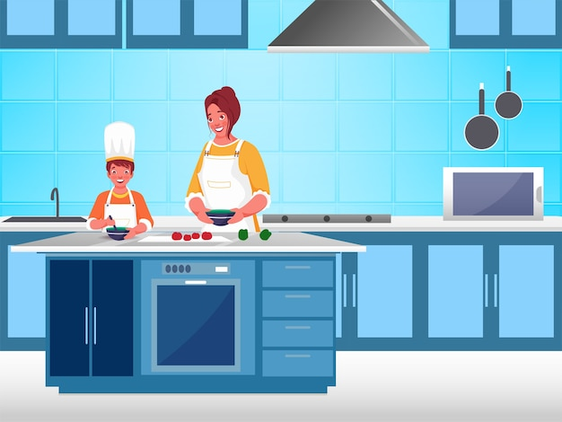 Maman et enfant cuisinent ensemble