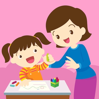 Maman et enfant dessinant