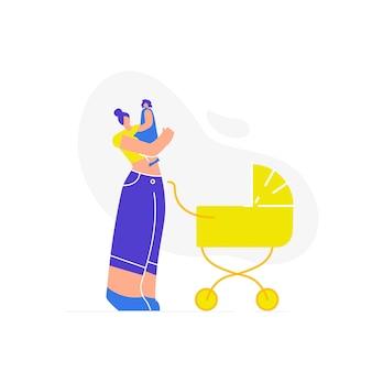 Maman avec enfant en promenade