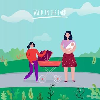 Maman avec des enfants pendant la promenade dans le parc sur l'illustration vectorielle plane de fond nature