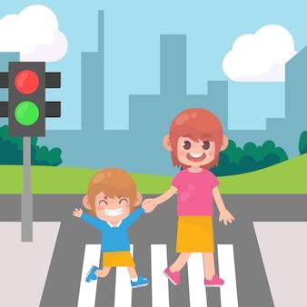 Maman avec des enfants traversant la rue vecteur premium