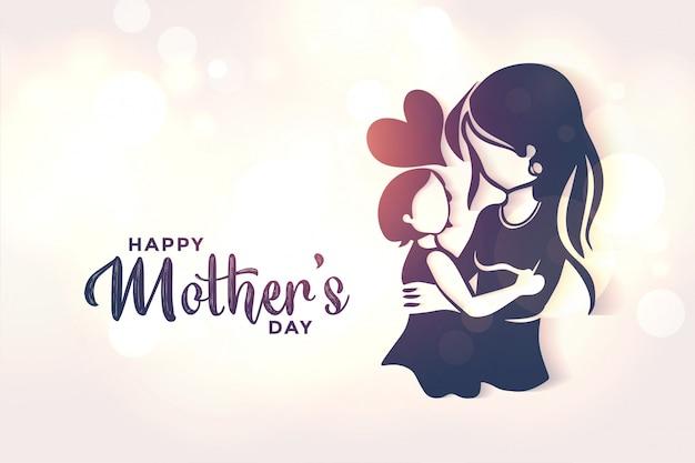 Maman et fille aiment fond pour la fête des mères