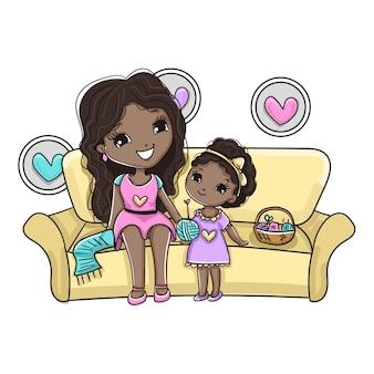 Maman et fille passer du temps ensemble et faire du crochet