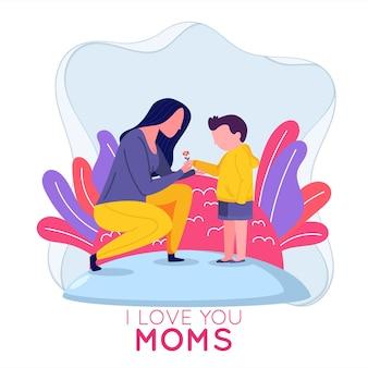 Maman et fils célèbrent la fête des mères