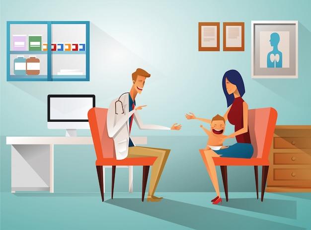 Maman et garçon à voir un médecin assis à la table à l'hôpital