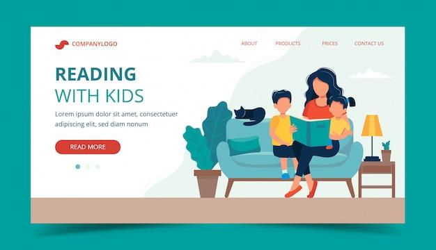Maman lisant pour les enfants. modèle de page de destination.
