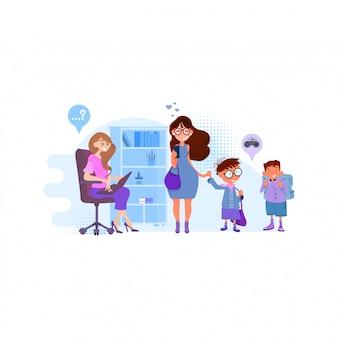 Maman maman écrit les enfants à l'école, le principal accepte les garçons, design plat.