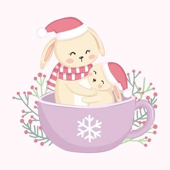 Maman mignon lapin et bébé lapin illustration