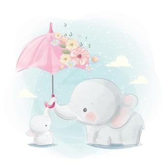 Maman mignonne et bébé éléphant