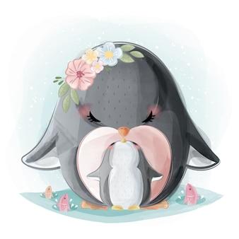 Maman mignonne et bébé pingouin