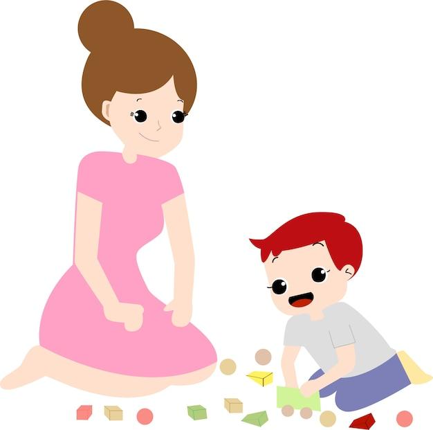 Maman mignonne et garçon heureux