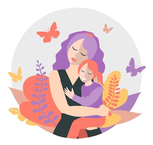 Maman mignonne avec une jeune fille le concept d'appartement familial de maternité