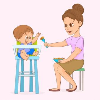 Maman nourrit son bébé